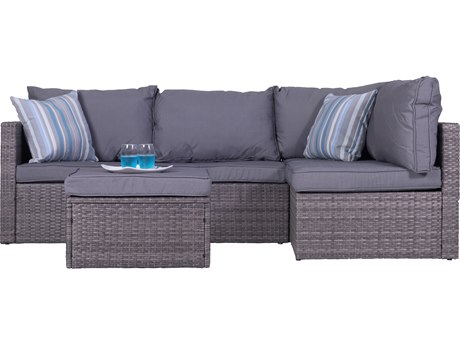 Vifah Cyrus 4-Piece Cushioned Compact Outdoor/Indoor Wicker Sectional Set