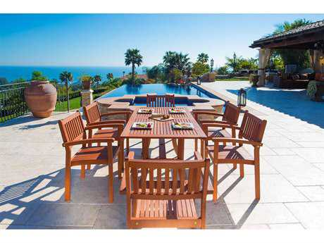 Vifah Malibu Eco-Friendly 7-Piece Wood Outdoor Dining Set  with Rectangular Curvy Table and Stacking Chairs