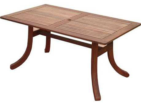 Vifah Eucalyptus  Wood 59 x 35 Rectangular Table with Curvy Legs