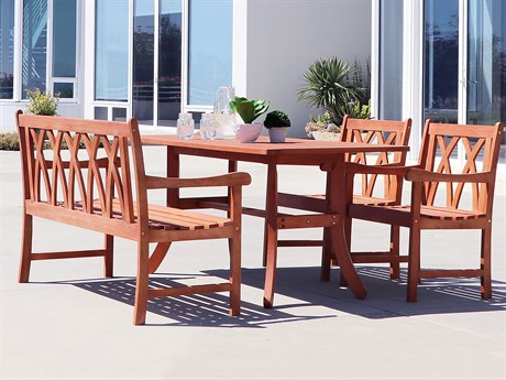 Vifah Malibu Eco-friendly 4-piece Outdoor Hardwood Dining Set with Rectangle Table 4-foot Bench and Arm Chairs