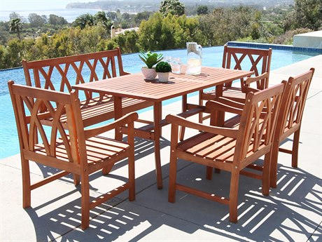 Vifah Malibu Eco-friendly 6-piece Outdoor Hardwood Dining Set with Rectangle Table 4-foot Bench and Arm Chairs