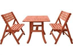 Malibu 3-Piece Wood Dining Set with Folding Bench