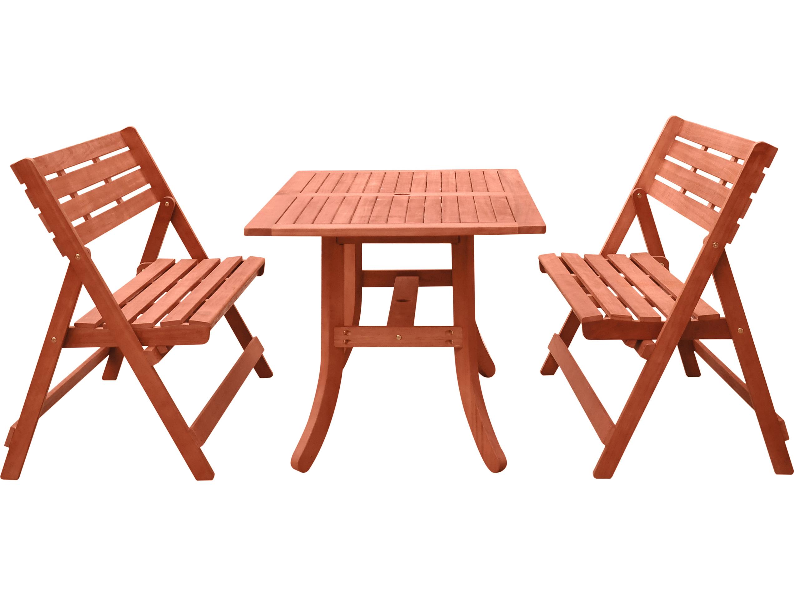Vifah Malibu 3 Piece Wood Dining Set With Folding Bench