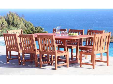 Vifah Malibu Eco-friendly 9-piece Outdoor Hardwood Dining Set with Rectangle Extension Table and Arm Chairs