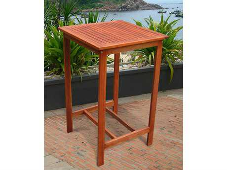Vifah Eucalyptus Wood 28 Square Dartmoor Bar Table