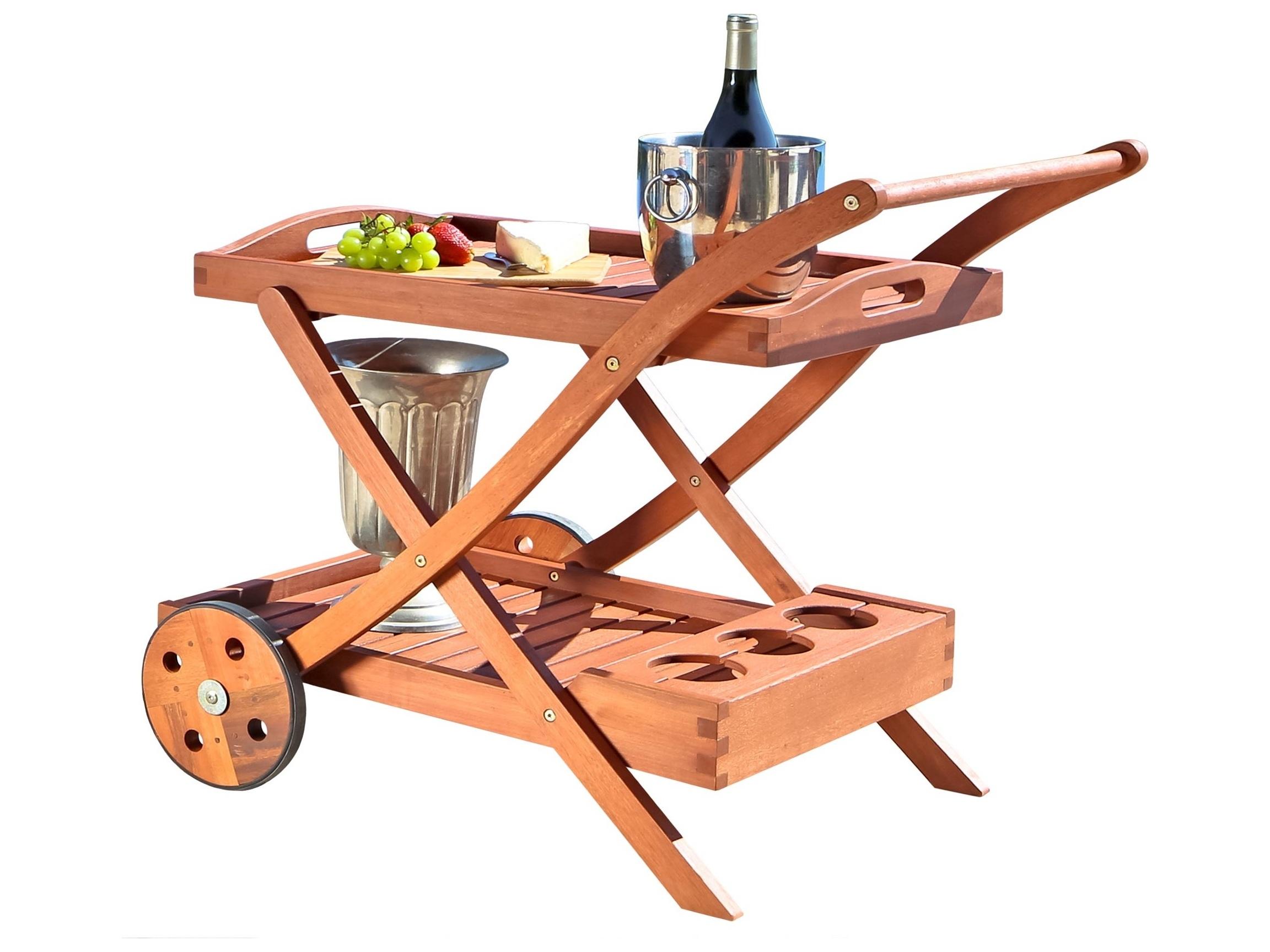 Wooden Patio Serving Carts ~ Vifah wood eucalyptus serving cart v