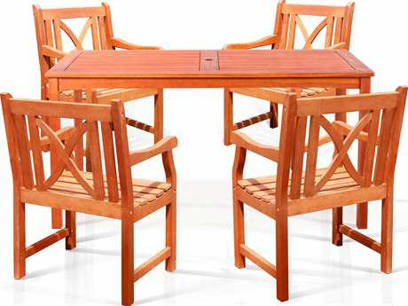 Vifah Eucalyptus Wood 5 Piece Dining Set