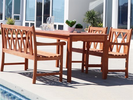 Vifah Malibu Eco-friendly 4-piece Outdoor Hardwood Dining Set with Rectangle Table Bench and Arm Chairs