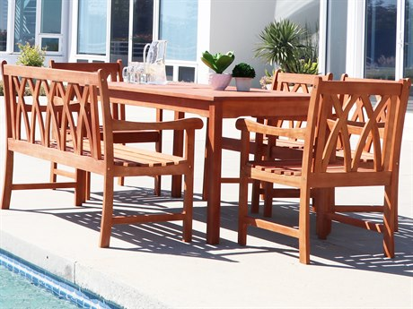 Vifah Malibu Eco-friendly 6-piece Outdoor Hardwood Dining Set with Rectangle Table Bench and Arm Chairs