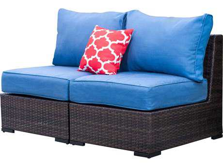 Vida Outdoor Pacific Armless Wicker Lounge Chair Pair - Denim