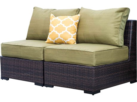 Vida Outdoor Pacific Armless Wicker Loveseat - Palm