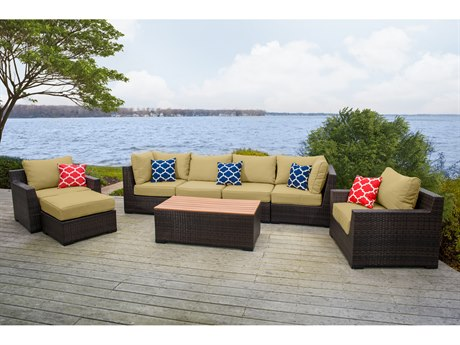 Vida Outdoor Pacific 8 Piece Wicker Conversation Set - Palm