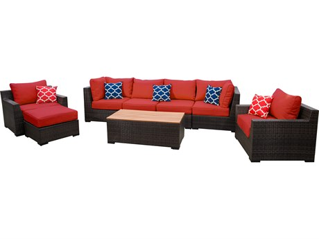 Vida Outdoor Pacific 8 Piece Wicker Conversation Set - Terracotta
