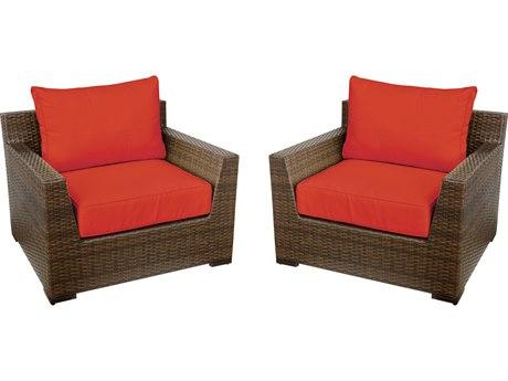 Vida Outdoor Pacific Wicker Club Chair Pair - Terracotta