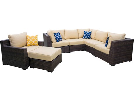 Vida Outdoor Pacific 7 Piece Wicker Sectional Set - Almond