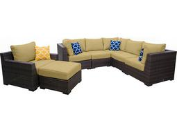 Pacific 7 Piece Wicker Sectional Set - Palm