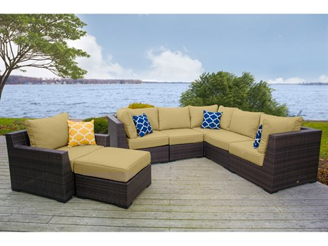 Vida Outdoor Pacific 7 Piece Wicker Sectional Set - Palm