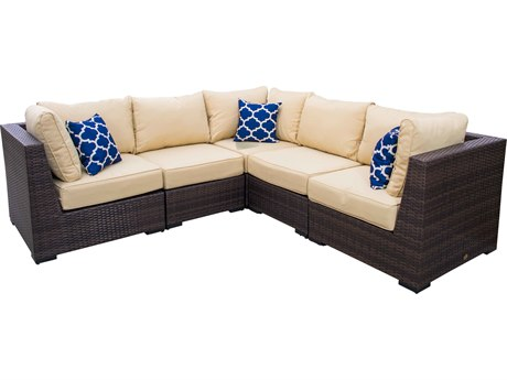 Vida Outdoor Pacific 5 Piece Wicker Sectional - Almond