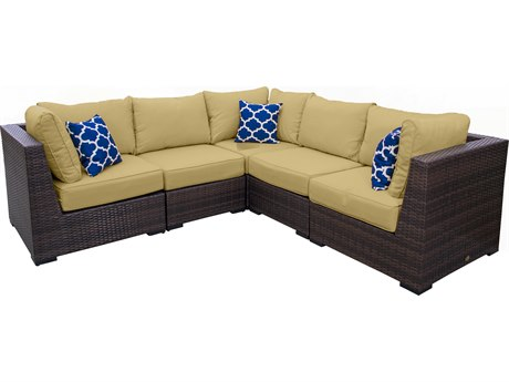 Vida Outdoor Pacific 5 Piece Wicker Sectional - Palm