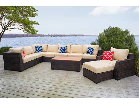 Vida Outdoor Pacific 10 Piece Wicker Sectional Set - Almond