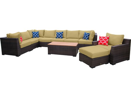 Vida Outdoor Pacific 10 Piece Wicker Sectional Set - Palm