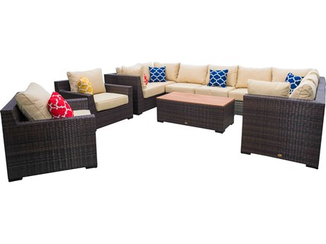 Vida Outdoor Pacific 11 Piece Wicker Sectional Set - Almond