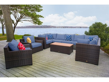 Vida Outdoor Pacific 11 Piece Wicker Sectional Set - Denim