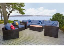 Pacific 11 Piece Wicker Sectional Set - Denim