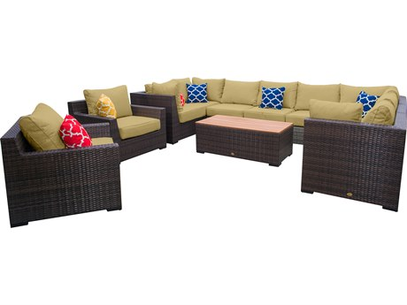 Vida Outdoor Pacific 11 Piece Wicker Sectional Set - Palm
