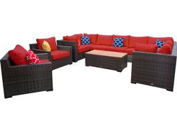 Pacific 11 Piece Wicker Sectional Set - Terracotta
