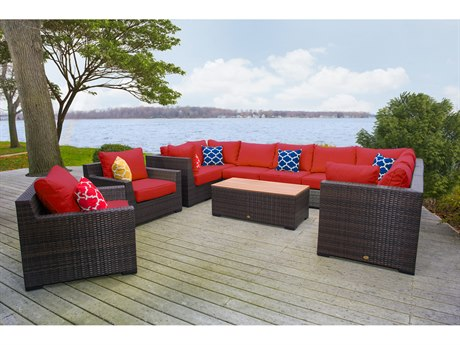Vida Outdoor Pacific 11 Piece Wicker Sectional Set - Terracotta