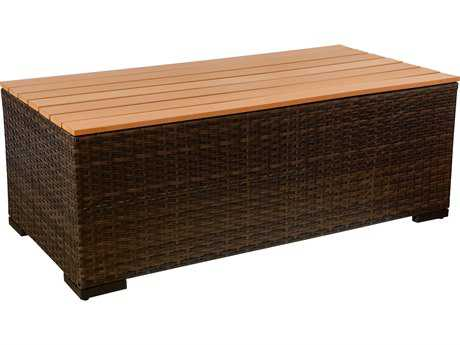 Vida Outdoor Pacific Wicker Coffee Table with Faux Wood Top