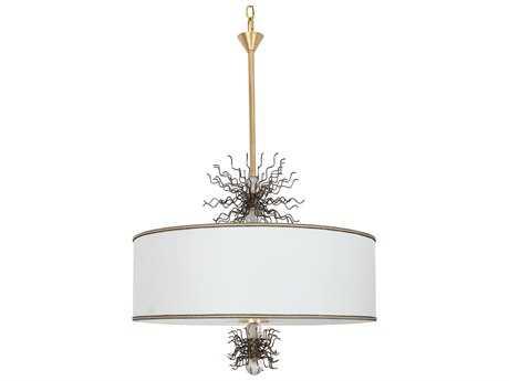 Van Teal Burst Spur Gold Leaf & Artisteel Six-Light Pendant Light
