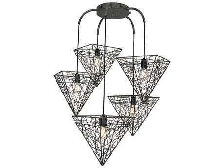 Van Teal District ''Fifth Avenue'' Bronze Five-Light Pendant Ceiling Light