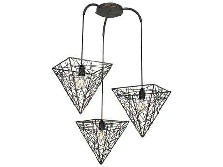 Van Teal District ''Oxford'' Bronze Three-Light Pendant Ceiling Light