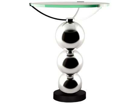 Van Teal Accents 16'' Round 'Three's Company'' Black Matte and Chrome End Table