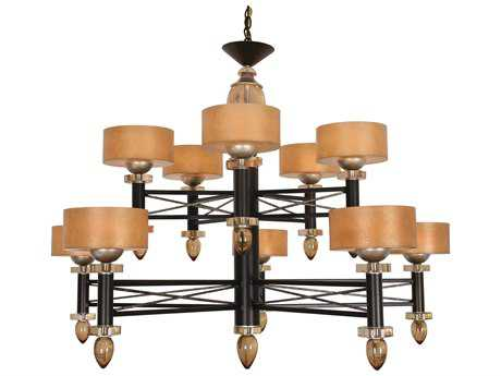 Van Teal Impressionist Danielle Silver Jacobean & Cafe Noir 52 Wide Ten-Light Chandelier