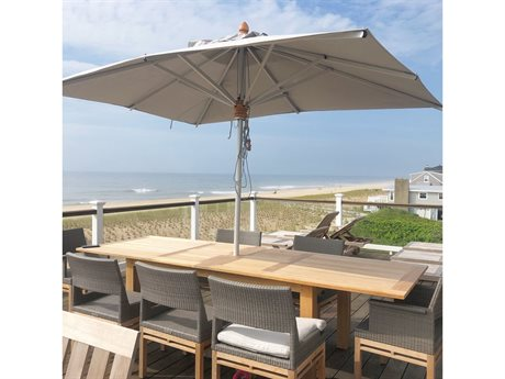 Woodline Shade Solutions Bravura  Aluminum 9.8' x 7.2' Rectangular Pulley Lift Umbrella PatioLiving