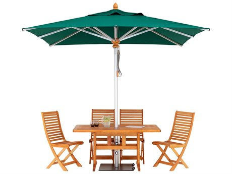 Woodline Shade Solutions Bravura Aluminum 9.4' Square Pulley Lift Umbrella PatioLiving