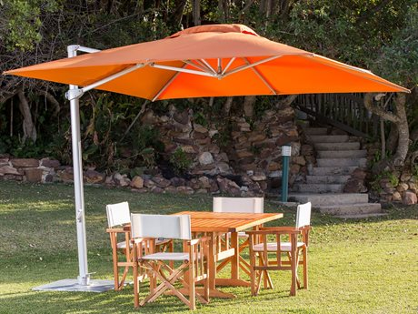 Woodline Shade Solutions Pavone Aluminum Cantilever 9.8' Square Crank Lift Umbrella PatioLiving