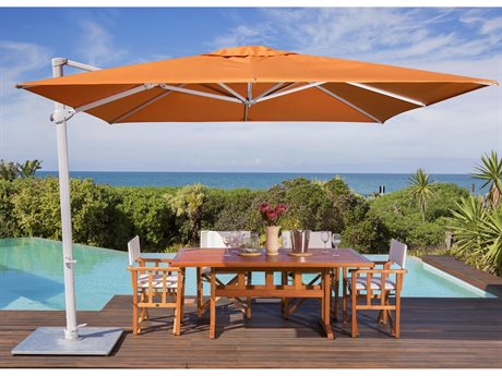 Woodline Shade Solutions Pavone Aluminum Cantilever 13.1' x 9.8' Rectangular Crank Lift Umbrella PatioLiving