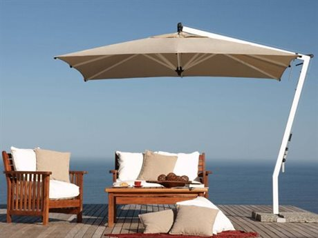 Woodline Shade Solutions Picollo Aluminum Cantilever 9.8' Square Crank Lift Umbrella PatioLiving