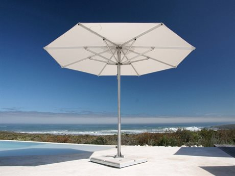 Woodline Shade Solutions Storm Aluminum 11.5' Octagon Pulley Lift Umbrella PatioLiving