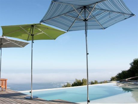 Woodline Shade Solutions Swift Stainless Steel Telescopic 8.2' Hexagon Pulley Lift Umbrella PatioLiving