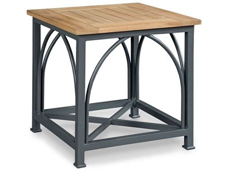 Woodbridge Furniture Outdoor Jupiter Natural Teak / Graphite Gray 26'' Wide Aluminum Square End Table PatioLiving