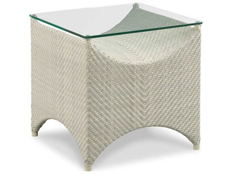 Woodbridge Furniture Outdoor Ventana Floral Gray 23'' Wide Wicker Square End Table PatioLiving