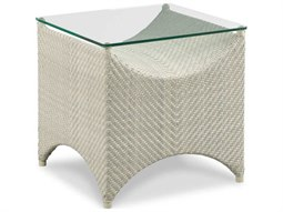 Ventana Floral Gray 23'' Wide Wicker Square End Table
