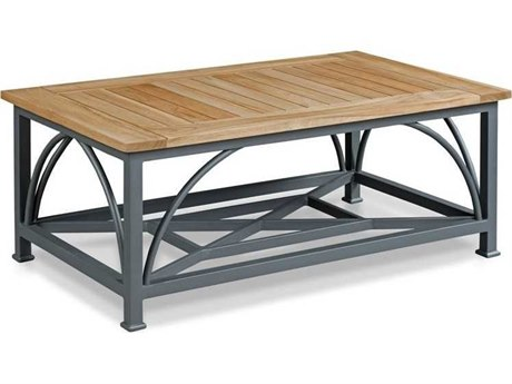 Woodbridge Furniture Outdoor Jupiter Natural Teak / Graphite Gray 46'' Wide Aluminum Rectangular Coffee Table PatioLiving