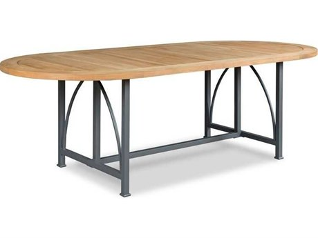 Woodbridge Furniture Outdoor Jupiter Natural Teak / Graphite 92'' Wide Aluminum Oval Dining Table PatioLiving