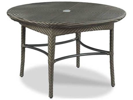 Woodbridge Furniture Outdoor Marigot Espresso 48'' Wide Aluminum Wicker Round Umbrella Hole Dining Table PatioLiving